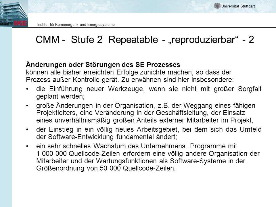 Universität Stuttgart Institut für Kernenergetik und Energiesysteme CMM - Stufe 2 Repeatable - reproduzierbar - 2 Änderungen oder Störungen des SE Pro