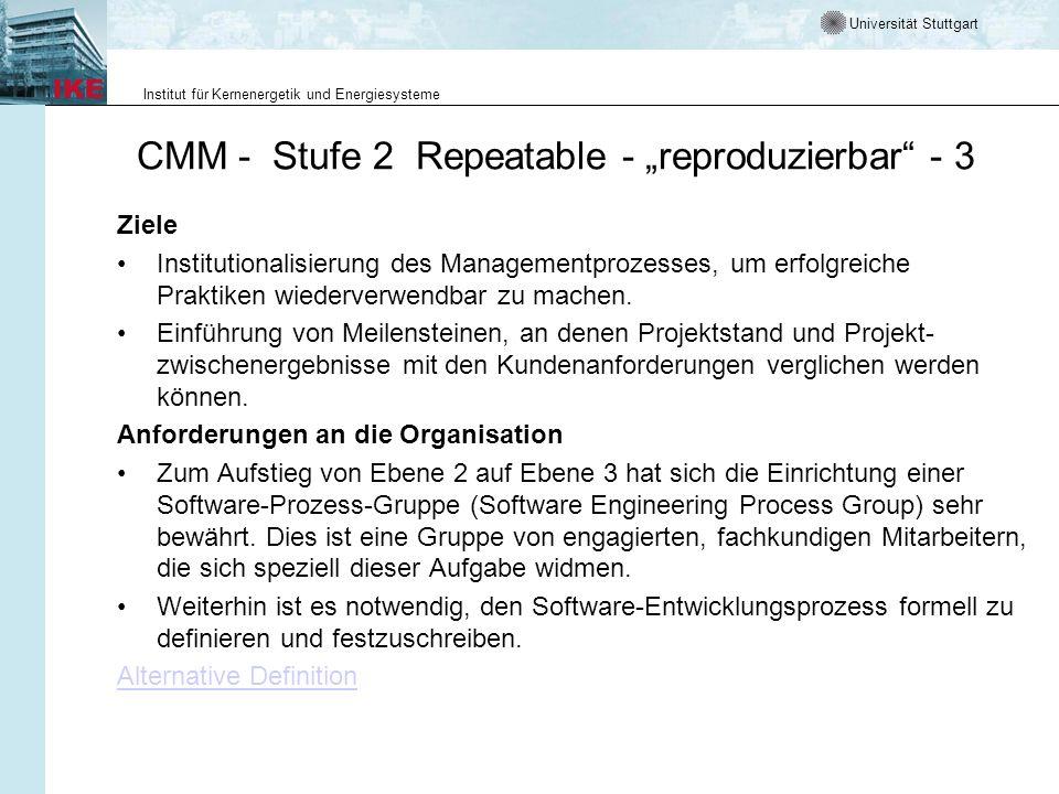 Universität Stuttgart Institut für Kernenergetik und Energiesysteme CMM - Stufe 2 Repeatable - reproduzierbar - 3 Ziele Institutionalisierung des Mana