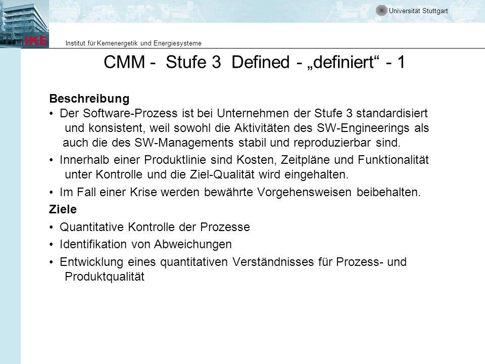 Universität Stuttgart Institut für Kernenergetik und Energiesysteme CMM - Stufe 3 Defined - definiert - 1 Beschreibung Der Software-Prozess ist bei Un