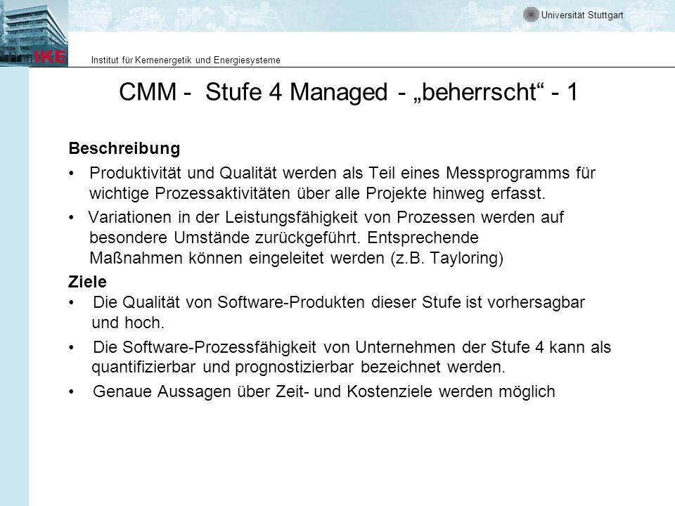 Universität Stuttgart Institut für Kernenergetik und Energiesysteme CMM - Stufe 4 Managed - beherrscht - 1 Beschreibung Produktivität und Qualität wer