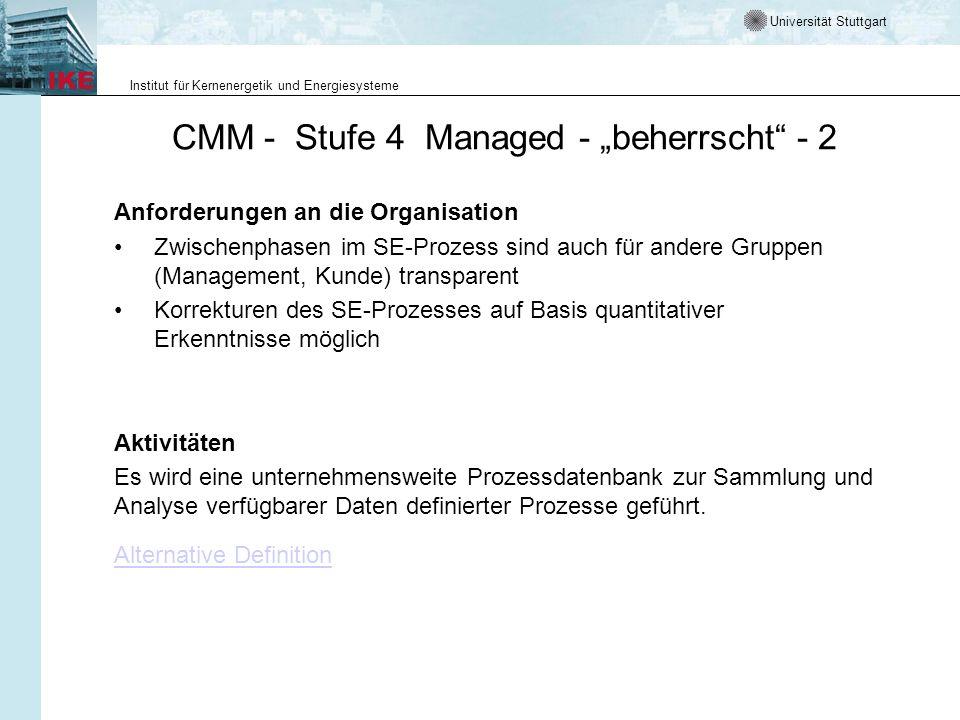 Universität Stuttgart Institut für Kernenergetik und Energiesysteme CMM - Stufe 4 Managed - beherrscht - 2 Anforderungen an die Organisation Zwischenp