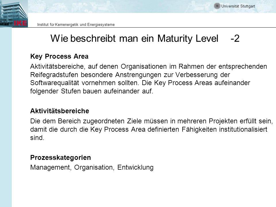 Universität Stuttgart Institut für Kernenergetik und Energiesysteme Wie beschreibt man ein Maturity Level -2 Key Process Area Aktivitätsbereiche, auf