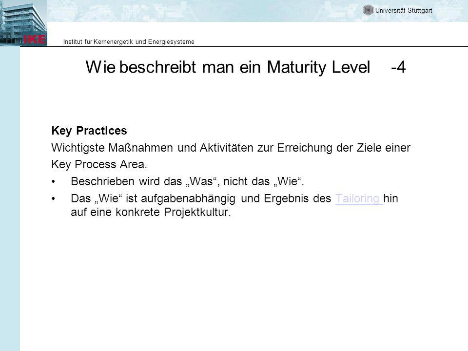 Universität Stuttgart Institut für Kernenergetik und Energiesysteme Wie beschreibt man ein Maturity Level -4 Key Practices Wichtigste Maßnahmen und Ak