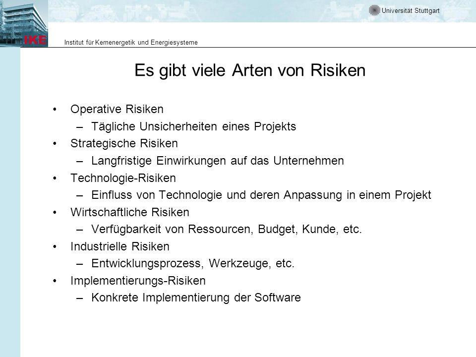 Universität Stuttgart Institut für Kernenergetik und Energiesysteme Es gibt viele Arten von Risiken Operative Risiken –Tägliche Unsicherheiten eines P