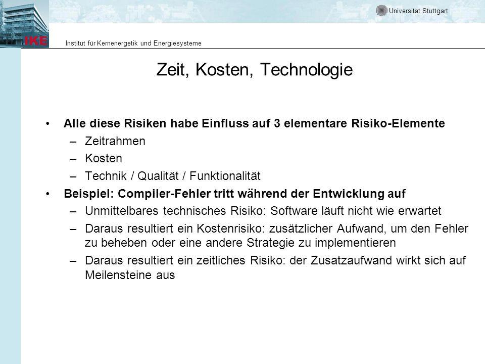 Universität Stuttgart Institut für Kernenergetik und Energiesysteme Zeit, Kosten, Technologie Alle diese Risiken habe Einfluss auf 3 elementare Risiko