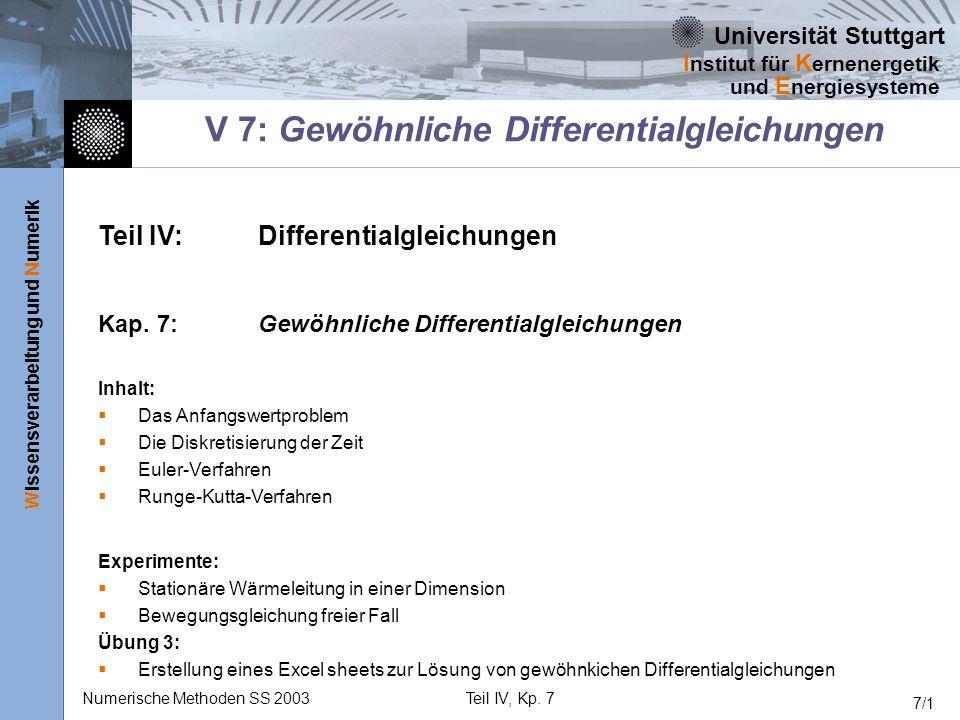 Universität Stuttgart Wissensverarbeitung und Numerik I nstitut für K ernenergetik und E nergiesysteme Numerische Methoden SS 2003Teil IV, Kp. 7 7/1 V