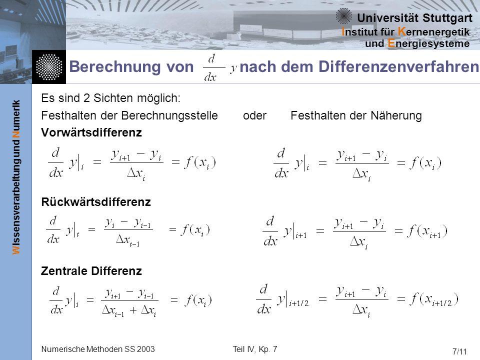 Universität Stuttgart Wissensverarbeitung und Numerik I nstitut für K ernenergetik und E nergiesysteme Numerische Methoden SS 2003Teil IV, Kp. 7 7/11