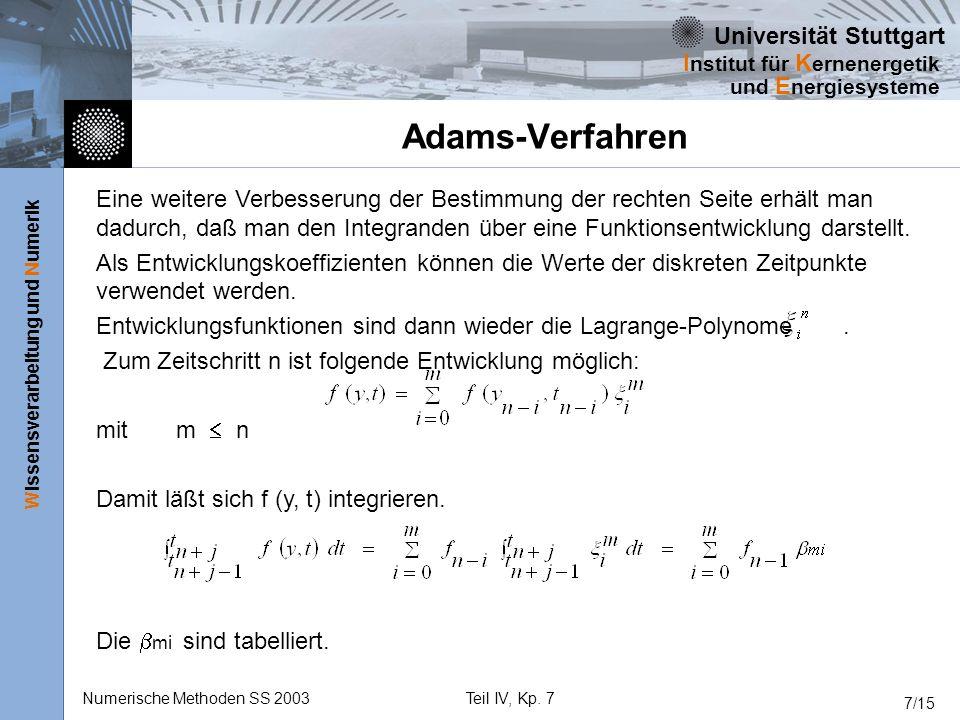 Universität Stuttgart Wissensverarbeitung und Numerik I nstitut für K ernenergetik und E nergiesysteme Numerische Methoden SS 2003Teil IV, Kp. 7 7/15