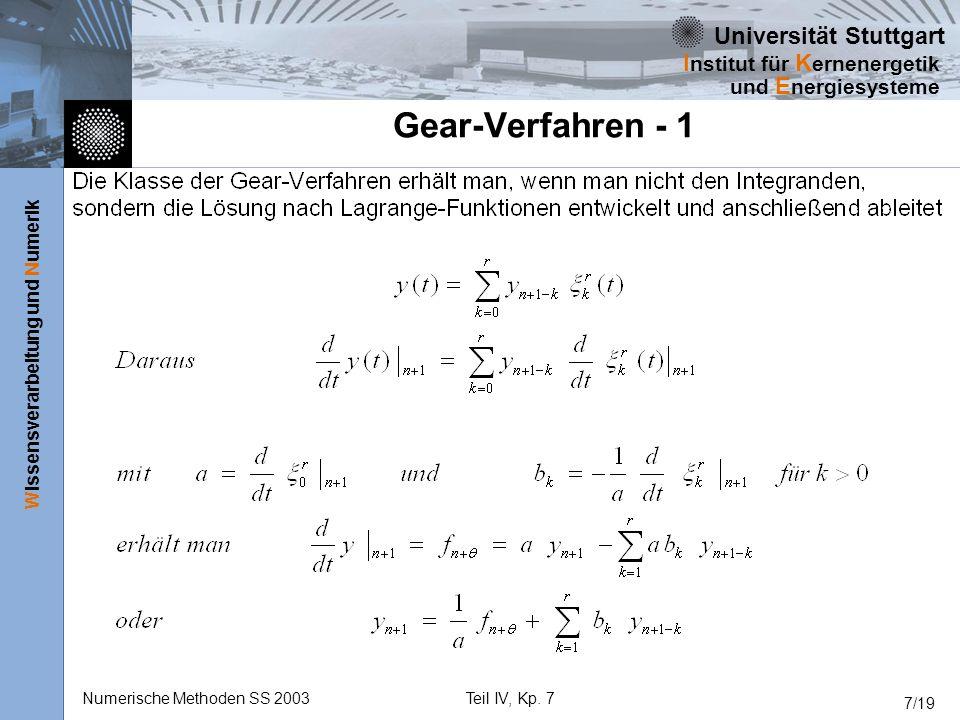 Universität Stuttgart Wissensverarbeitung und Numerik I nstitut für K ernenergetik und E nergiesysteme Numerische Methoden SS 2003Teil IV, Kp. 7 7/19