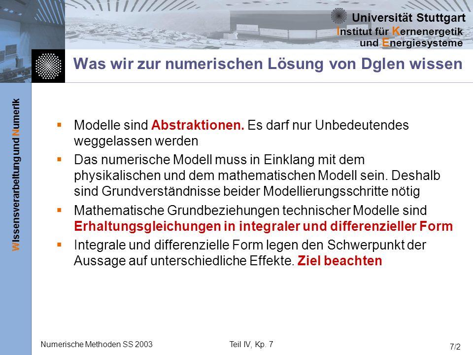 Universität Stuttgart Wissensverarbeitung und Numerik I nstitut für K ernenergetik und E nergiesysteme Numerische Methoden SS 2003Teil IV, Kp. 7 7/2 W