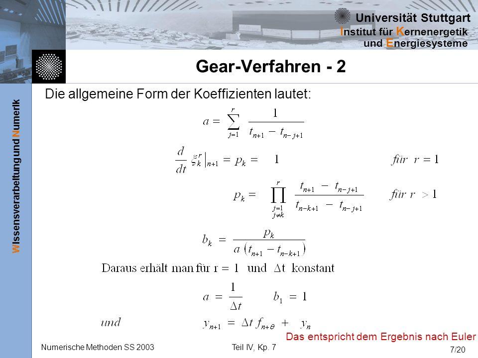 Universität Stuttgart Wissensverarbeitung und Numerik I nstitut für K ernenergetik und E nergiesysteme Numerische Methoden SS 2003Teil IV, Kp. 7 7/20