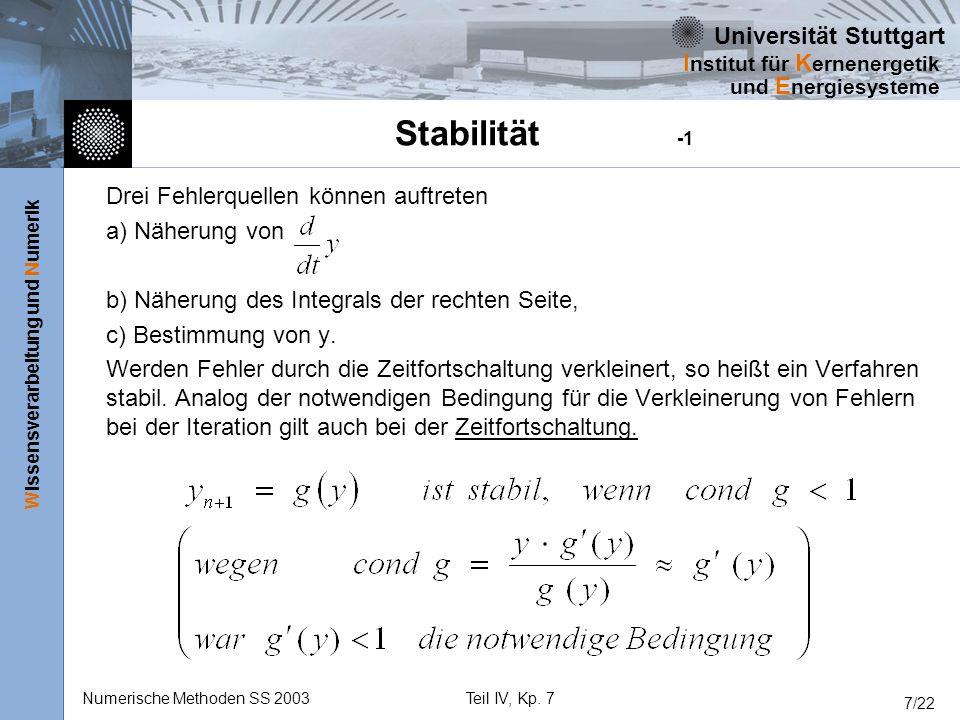 Universität Stuttgart Wissensverarbeitung und Numerik I nstitut für K ernenergetik und E nergiesysteme Numerische Methoden SS 2003Teil IV, Kp. 7 7/22