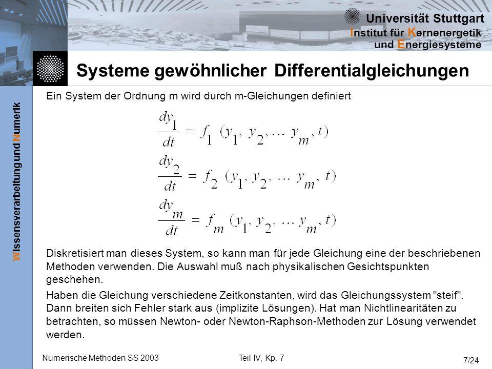 Universität Stuttgart Wissensverarbeitung und Numerik I nstitut für K ernenergetik und E nergiesysteme Numerische Methoden SS 2003Teil IV, Kp. 7 7/24