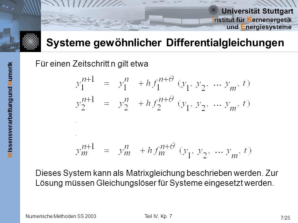 Universität Stuttgart Wissensverarbeitung und Numerik I nstitut für K ernenergetik und E nergiesysteme Numerische Methoden SS 2003Teil IV, Kp. 7 7/25