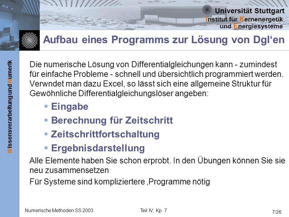 Universität Stuttgart Wissensverarbeitung und Numerik I nstitut für K ernenergetik und E nergiesysteme Numerische Methoden SS 2003Teil IV, Kp. 7 7/26