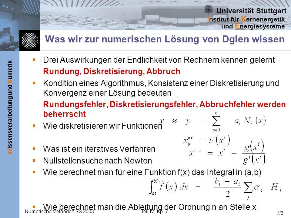 Universität Stuttgart Wissensverarbeitung und Numerik I nstitut für K ernenergetik und E nergiesysteme Numerische Methoden SS 2003Teil IV, Kp. 7 7/3 W