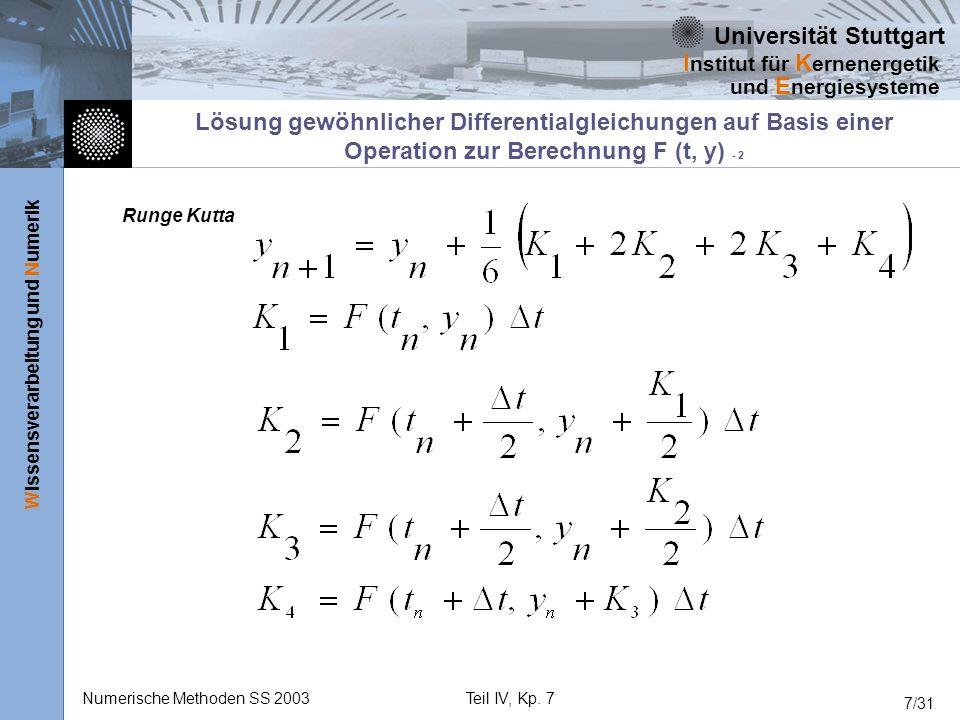 Universität Stuttgart Wissensverarbeitung und Numerik I nstitut für K ernenergetik und E nergiesysteme Numerische Methoden SS 2003Teil IV, Kp. 7 7/31
