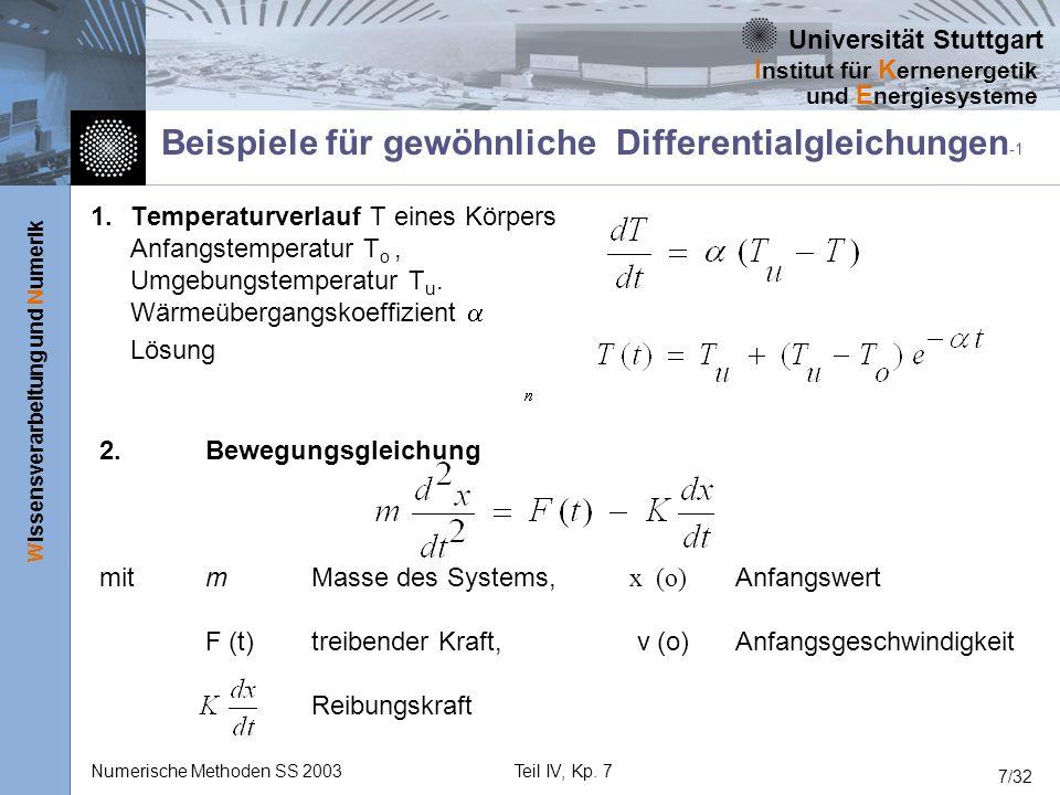 Universität Stuttgart Wissensverarbeitung und Numerik I nstitut für K ernenergetik und E nergiesysteme Numerische Methoden SS 2003Teil IV, Kp. 7 7/32
