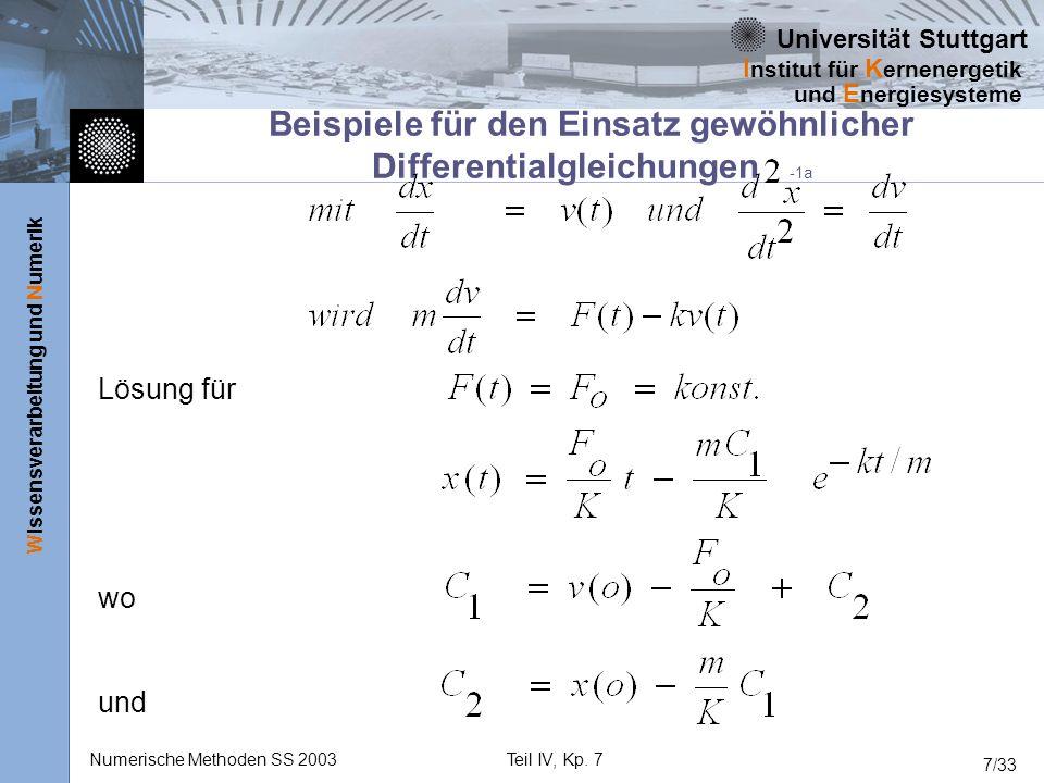 Universität Stuttgart Wissensverarbeitung und Numerik I nstitut für K ernenergetik und E nergiesysteme Numerische Methoden SS 2003Teil IV, Kp. 7 7/33