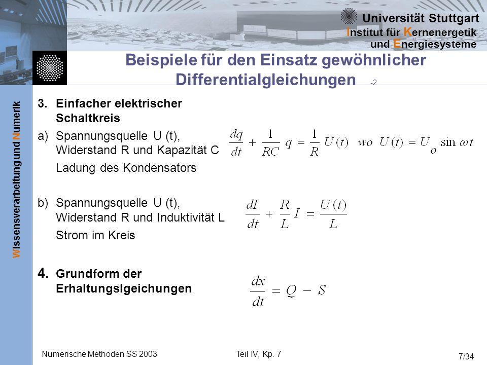 Universität Stuttgart Wissensverarbeitung und Numerik I nstitut für K ernenergetik und E nergiesysteme Numerische Methoden SS 2003Teil IV, Kp. 7 7/34