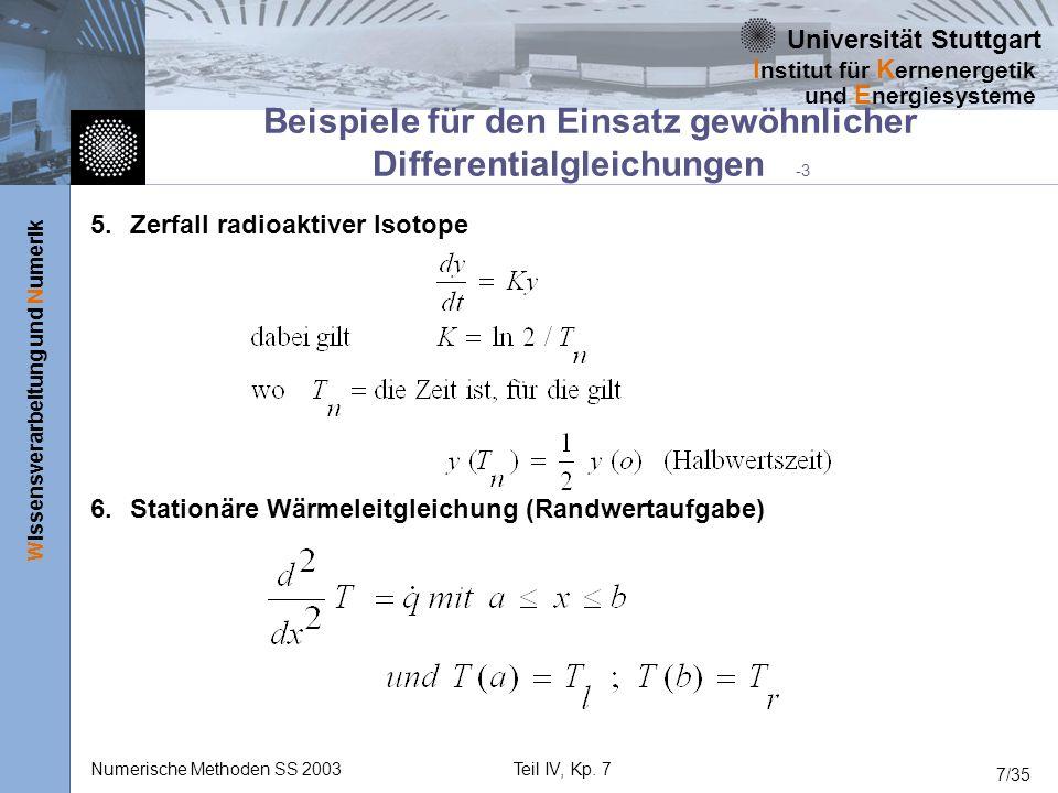 Universität Stuttgart Wissensverarbeitung und Numerik I nstitut für K ernenergetik und E nergiesysteme Numerische Methoden SS 2003Teil IV, Kp. 7 7/35