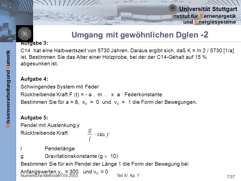 Universität Stuttgart Wissensverarbeitung und Numerik I nstitut für K ernenergetik und E nergiesysteme Numerische Methoden SS 2003Teil IV, Kp. 7 7/37