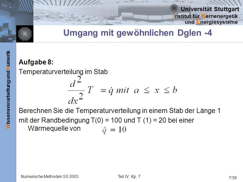 Universität Stuttgart Wissensverarbeitung und Numerik I nstitut für K ernenergetik und E nergiesysteme Numerische Methoden SS 2003Teil IV, Kp. 7 7/39