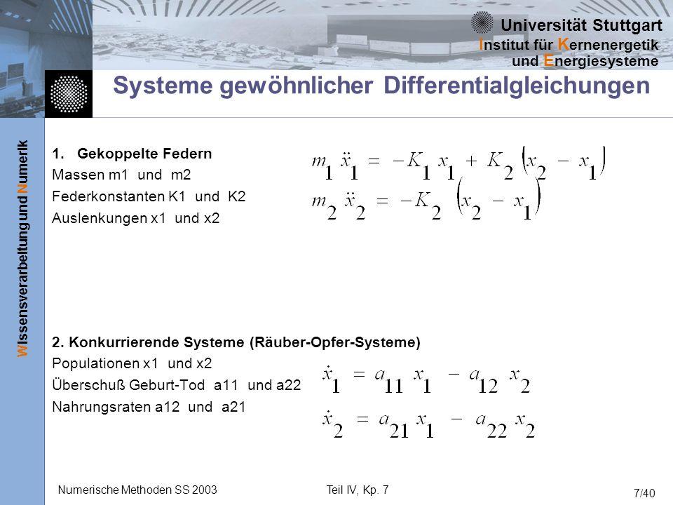 Universität Stuttgart Wissensverarbeitung und Numerik I nstitut für K ernenergetik und E nergiesysteme Numerische Methoden SS 2003Teil IV, Kp. 7 7/40