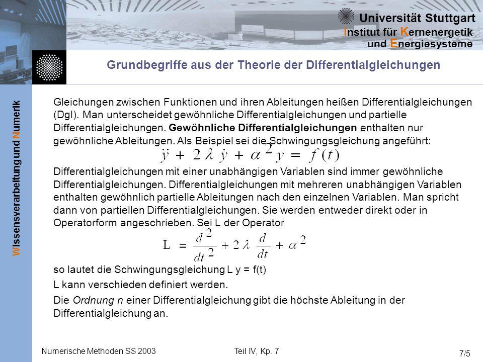 Universität Stuttgart Wissensverarbeitung und Numerik I nstitut für K ernenergetik und E nergiesysteme Numerische Methoden SS 2003Teil IV, Kp. 7 7/5 G