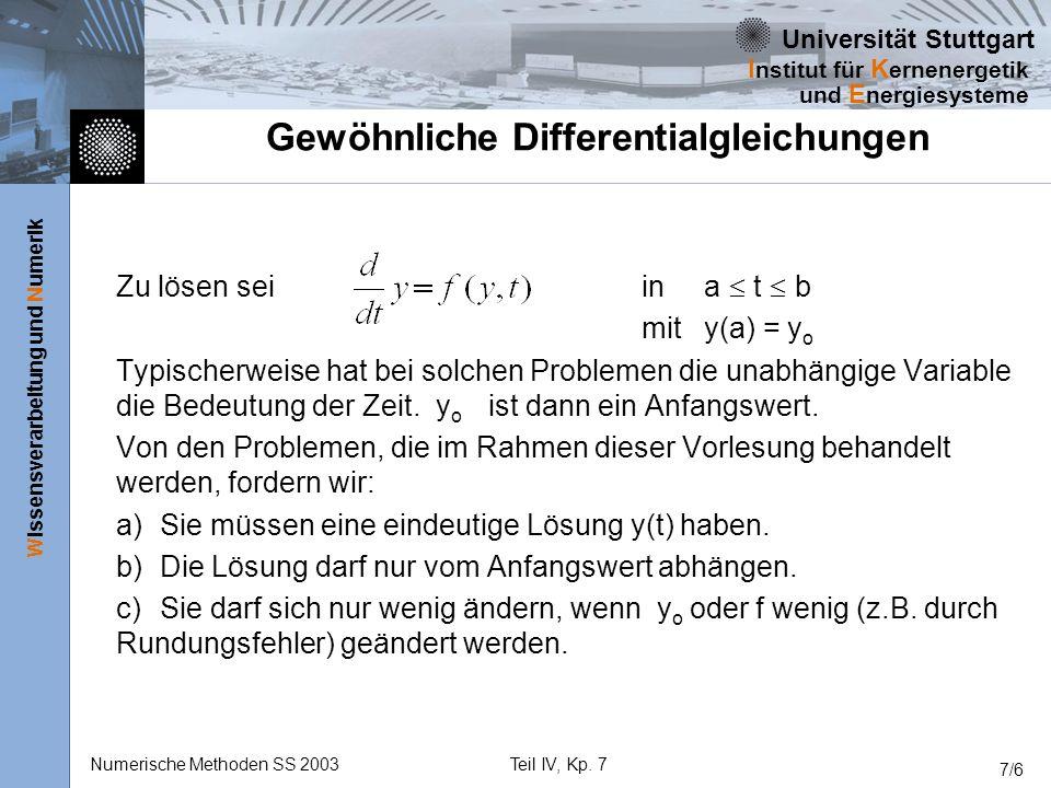 Universität Stuttgart Wissensverarbeitung und Numerik I nstitut für K ernenergetik und E nergiesysteme Numerische Methoden SS 2003Teil IV, Kp. 7 7/6 G