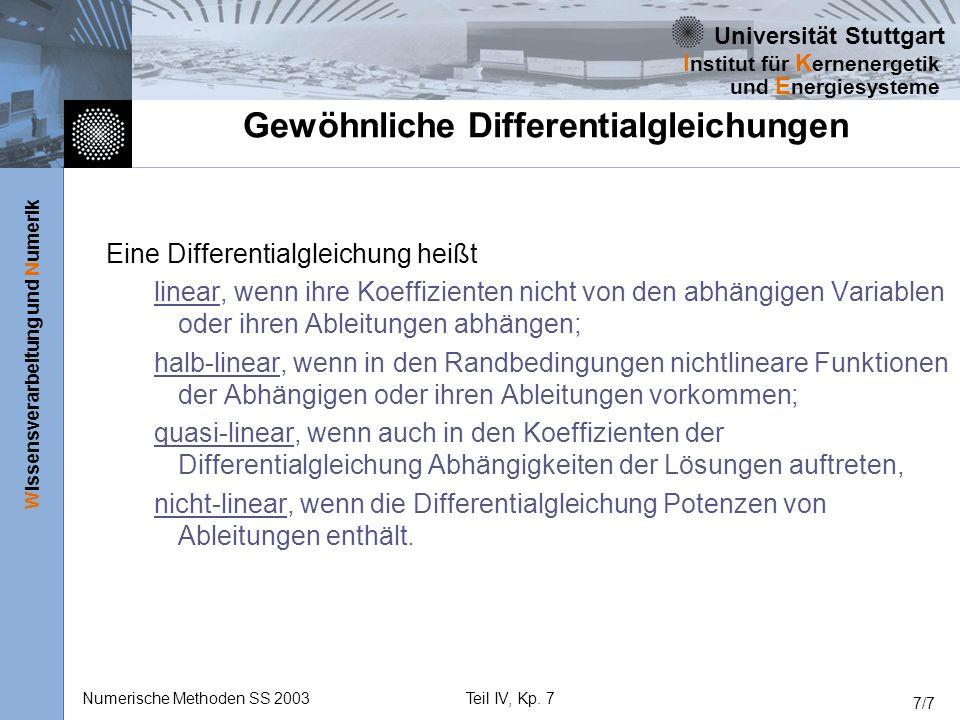 Universität Stuttgart Wissensverarbeitung und Numerik I nstitut für K ernenergetik und E nergiesysteme Numerische Methoden SS 2003Teil IV, Kp. 7 7/7 G