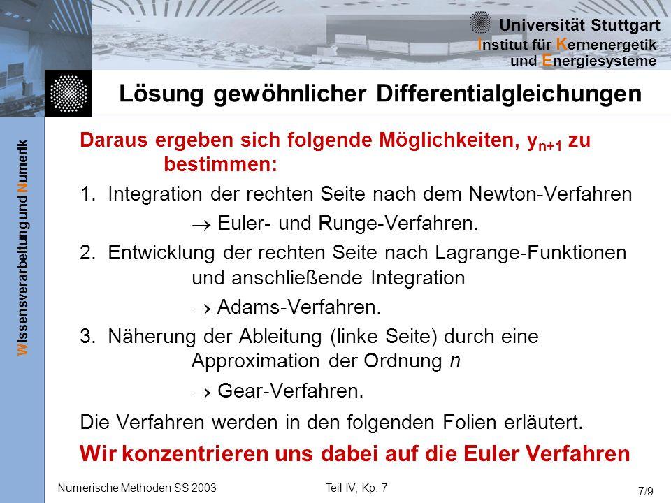 Universität Stuttgart Wissensverarbeitung und Numerik I nstitut für K ernenergetik und E nergiesysteme Numerische Methoden SS 2003Teil IV, Kp. 7 7/9 L
