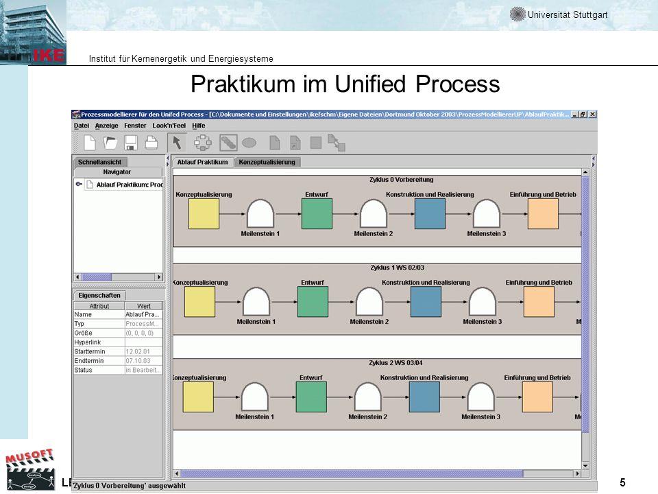 Universität Stuttgart Institut für Kernenergetik und Energiesysteme LE P MuSofT Erkundungsumgebung Entwicklung eines komponentenbasierten Systems WS 03/04 5 Praktikum im Unified Process