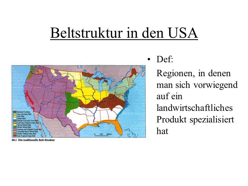 Entstehung der klassischen Beltstruktur durch Klima, Böden, Marktorientierung und Wettbewerb entsteht die klassische Beltstruktur optimale Inwertsetzung des Eignungsgebiets Spezialisierung auf ein Produkt
