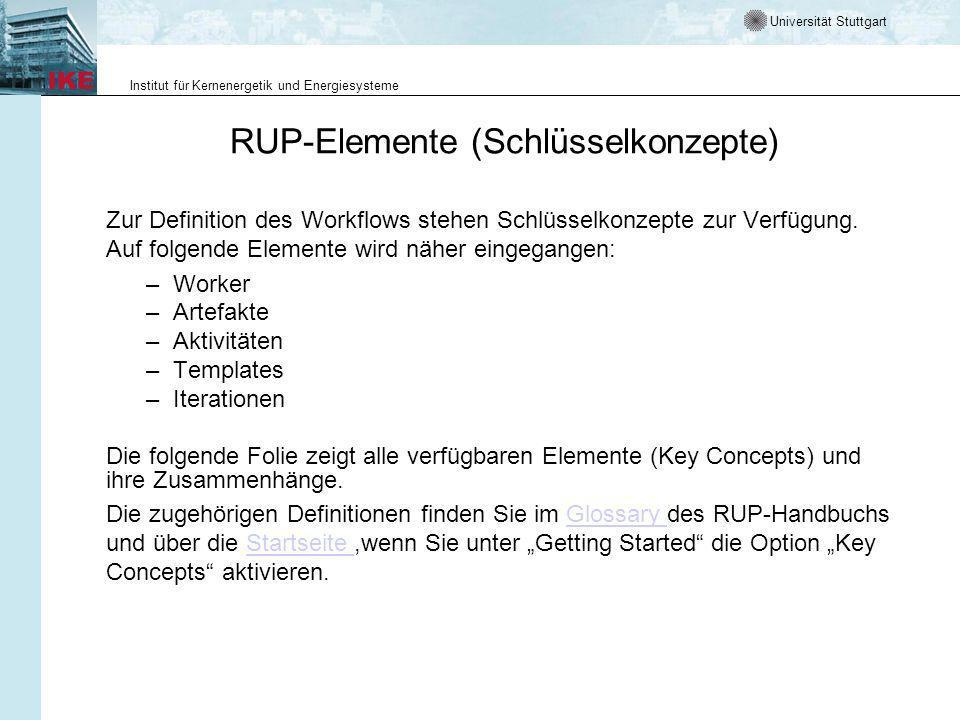 Universität Stuttgart Institut für Kernenergetik und Energiesysteme RUP-Elemente (Schlüsselkonzepte) Zur Definition des Workflows stehen Schlüsselkonzepte zur Verfügung.