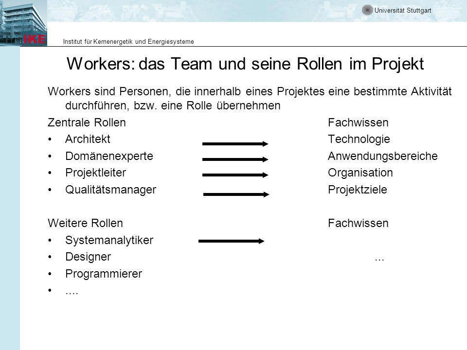 Universität Stuttgart Institut für Kernenergetik und Energiesysteme Workers: das Team und seine Rollen im Projekt Workers sind Personen, die innerhalb eines Projektes eine bestimmte Aktivität durchführen, bzw.