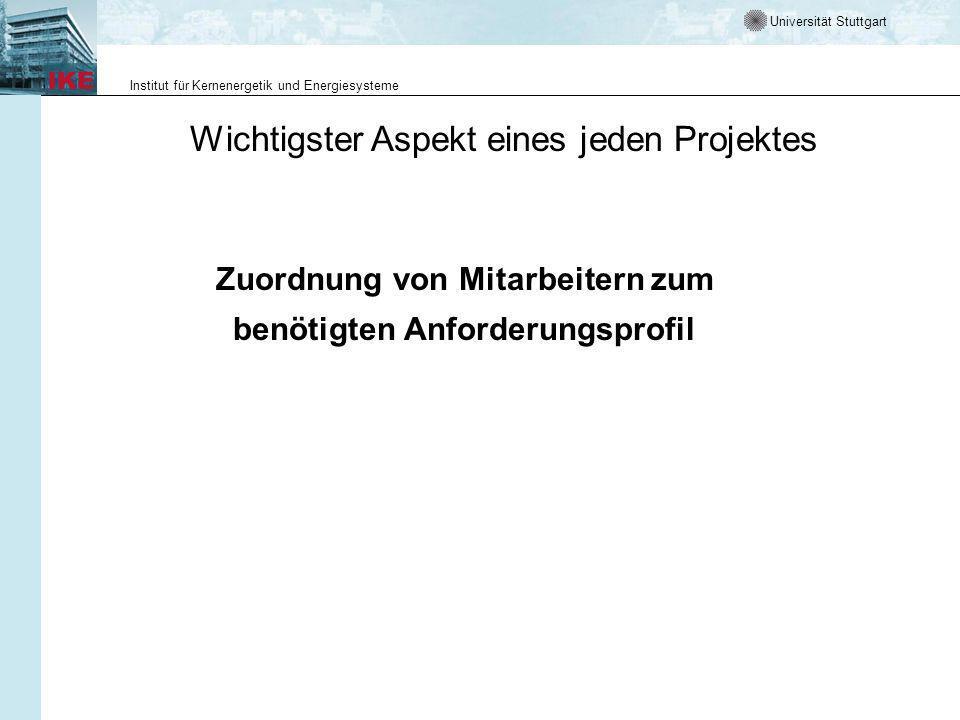 Universität Stuttgart Institut für Kernenergetik und Energiesysteme Wichtigster Aspekt eines jeden Projektes Zuordnung von Mitarbeitern zum benötigten Anforderungsprofil