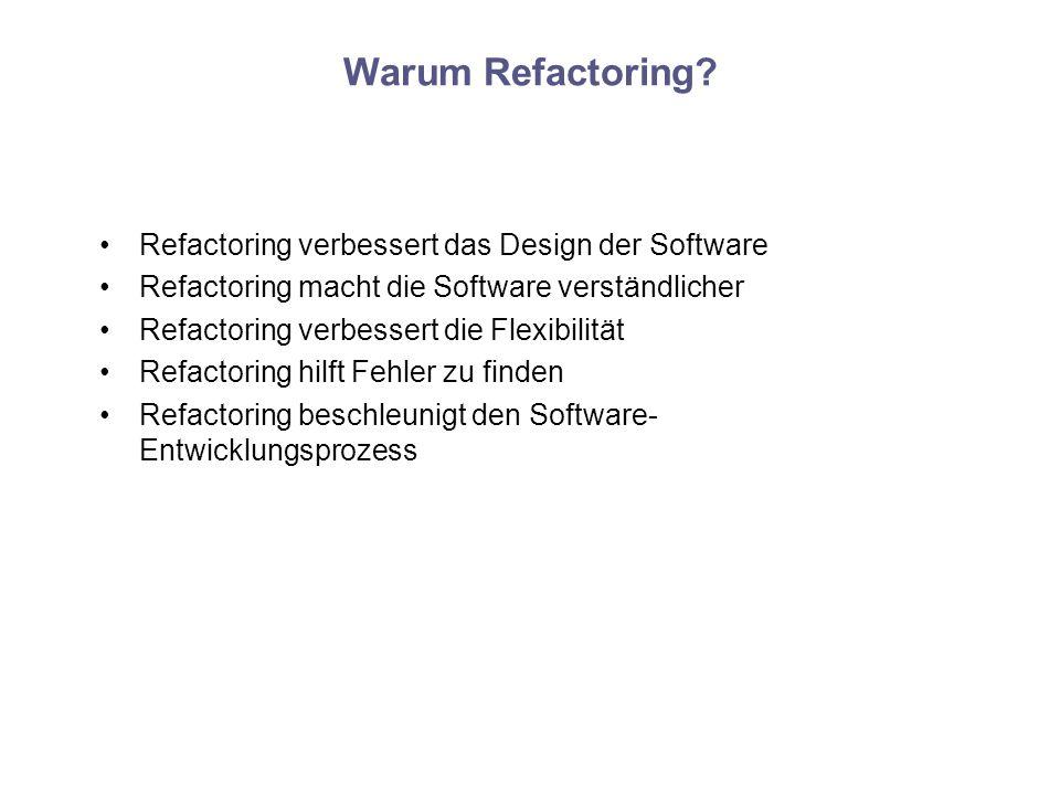 Warum Refactoring? Refactoring verbessert das Design der Software Refactoring macht die Software verständlicher Refactoring verbessert die Flexibilitä