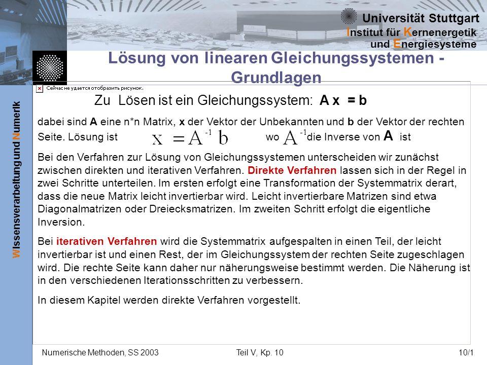 Universität Stuttgart Wissensverarbeitung und Numerik I nstitut für K ernenergetik und E nergiesysteme Numerische Methoden, SS 2003Teil V, Kp. 1010/1