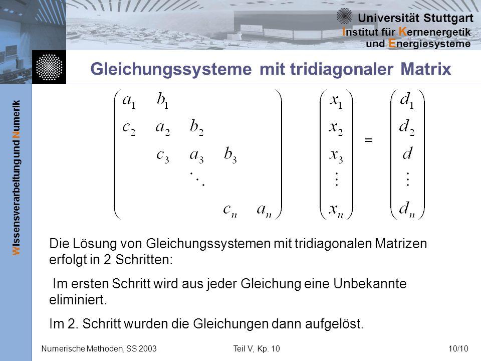 Universität Stuttgart Wissensverarbeitung und Numerik I nstitut für K ernenergetik und E nergiesysteme Numerische Methoden, SS 2003Teil V, Kp. 1010/10