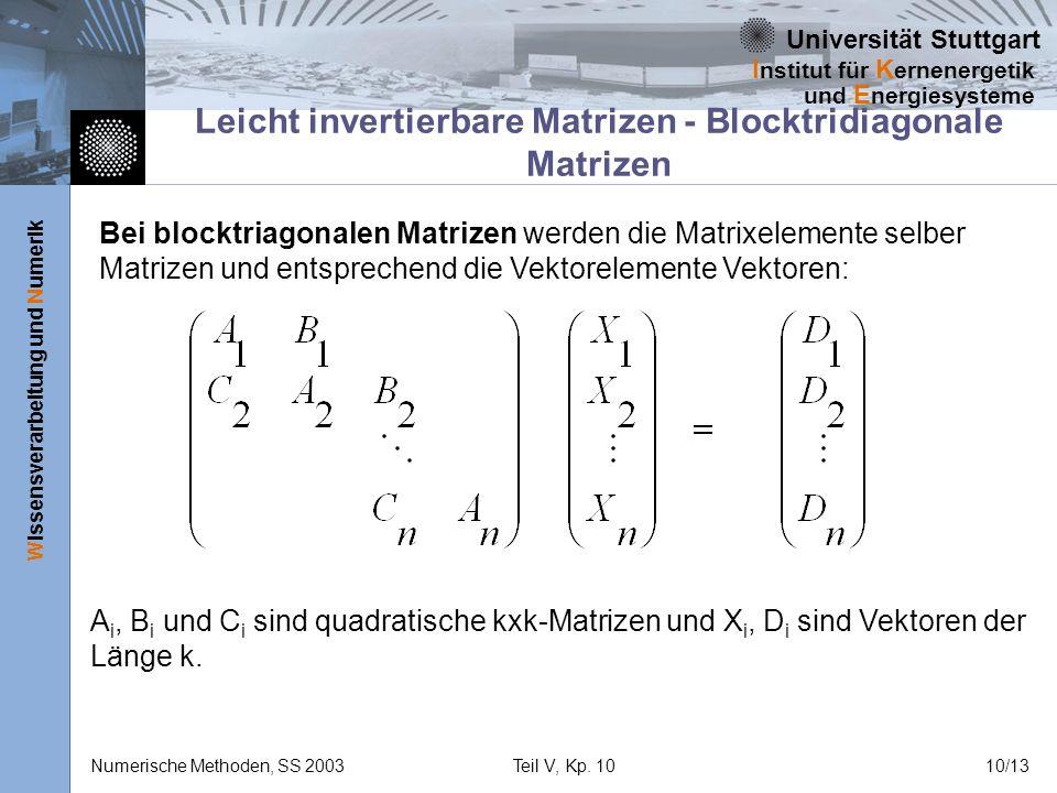 Universität Stuttgart Wissensverarbeitung und Numerik I nstitut für K ernenergetik und E nergiesysteme Numerische Methoden, SS 2003Teil V, Kp. 1010/13