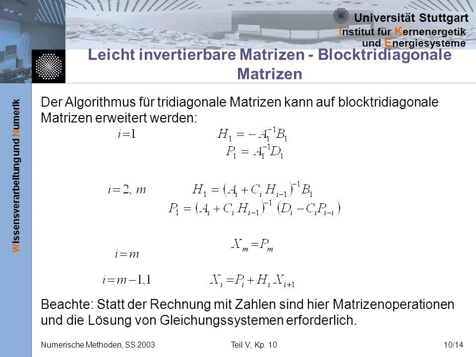 Universität Stuttgart Wissensverarbeitung und Numerik I nstitut für K ernenergetik und E nergiesysteme Numerische Methoden, SS 2003Teil V, Kp. 1010/14