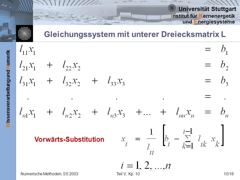 Universität Stuttgart Wissensverarbeitung und Numerik I nstitut für K ernenergetik und E nergiesysteme Numerische Methoden, SS 2003Teil V, Kp. 1010/16