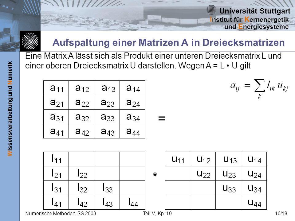 Universität Stuttgart Wissensverarbeitung und Numerik I nstitut für K ernenergetik und E nergiesysteme Numerische Methoden, SS 2003Teil V, Kp. 1010/18