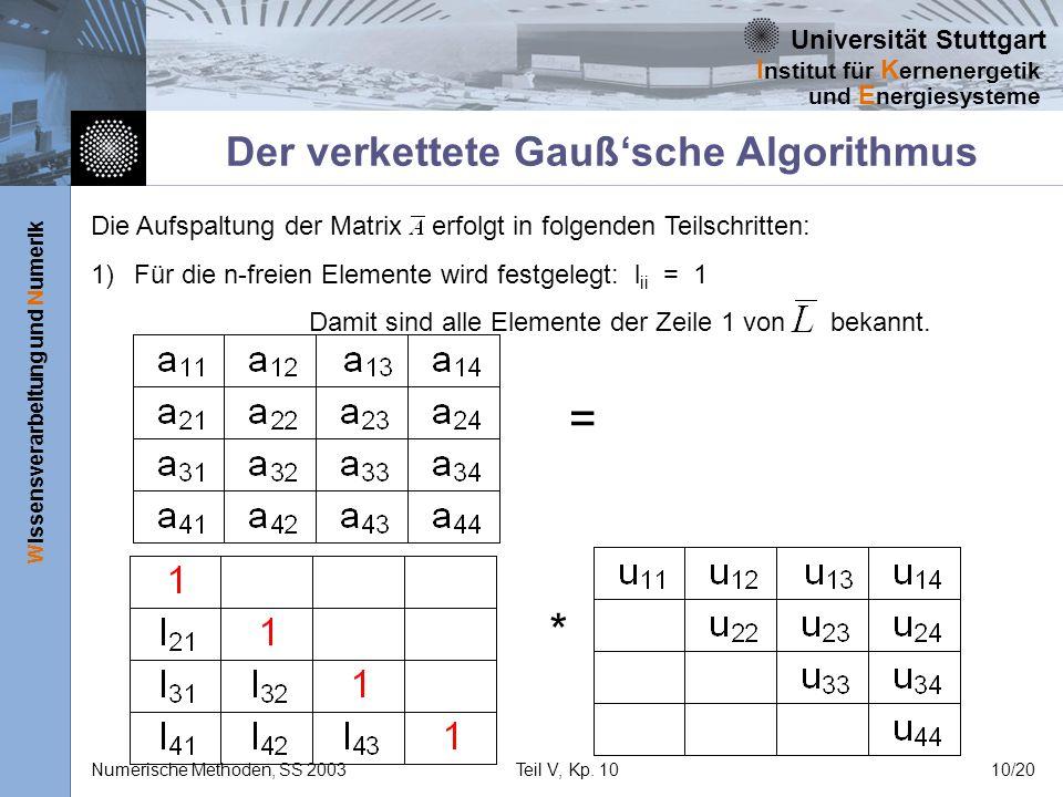 Universität Stuttgart Wissensverarbeitung und Numerik I nstitut für K ernenergetik und E nergiesysteme Numerische Methoden, SS 2003Teil V, Kp. 1010/20