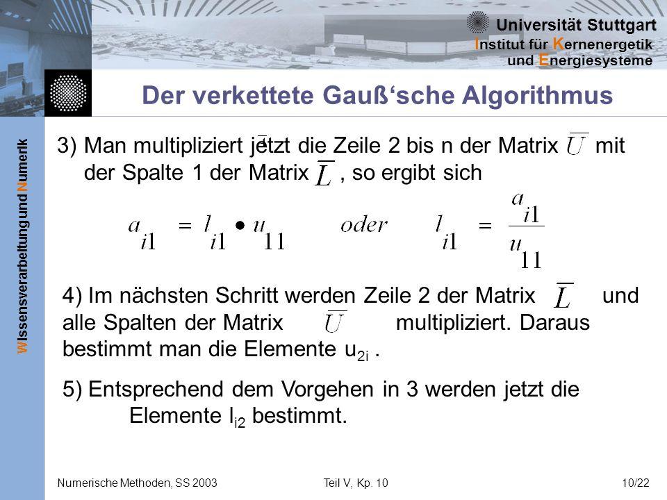 Universität Stuttgart Wissensverarbeitung und Numerik I nstitut für K ernenergetik und E nergiesysteme Numerische Methoden, SS 2003Teil V, Kp. 1010/22