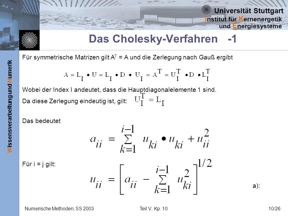 Universität Stuttgart Wissensverarbeitung und Numerik I nstitut für K ernenergetik und E nergiesysteme Numerische Methoden, SS 2003Teil V, Kp. 1010/26
