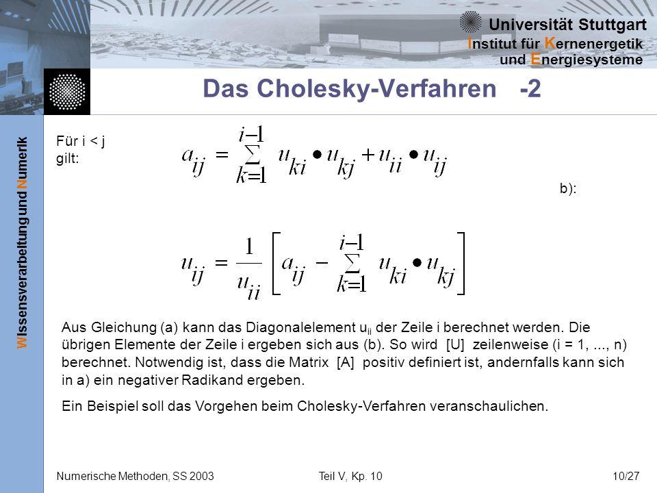 Universität Stuttgart Wissensverarbeitung und Numerik I nstitut für K ernenergetik und E nergiesysteme Numerische Methoden, SS 2003Teil V, Kp. 1010/27
