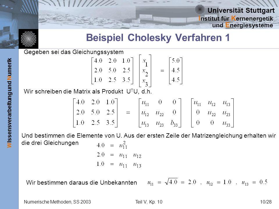 Universität Stuttgart Wissensverarbeitung und Numerik I nstitut für K ernenergetik und E nergiesysteme Numerische Methoden, SS 2003Teil V, Kp. 1010/28