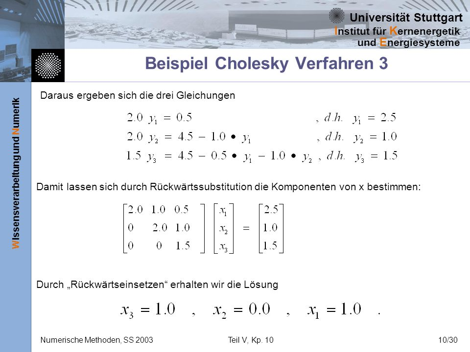 Universität Stuttgart Wissensverarbeitung und Numerik I nstitut für K ernenergetik und E nergiesysteme Numerische Methoden, SS 2003Teil V, Kp. 1010/30